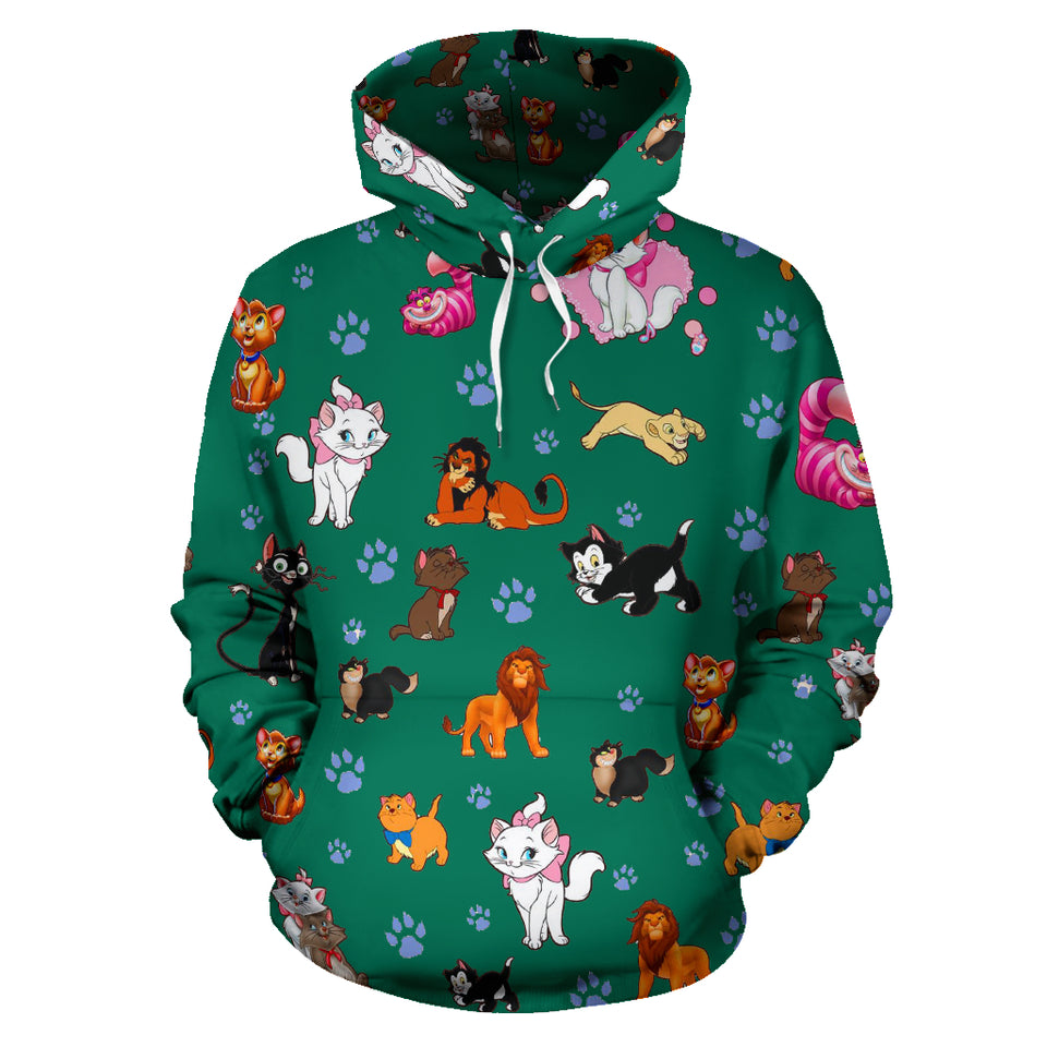 Cats All Over Hoodie Christmas Green