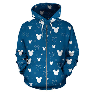 Blue Pattern All Over Zip Hoodie