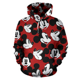 Mickey Face Red All Over Hoodie