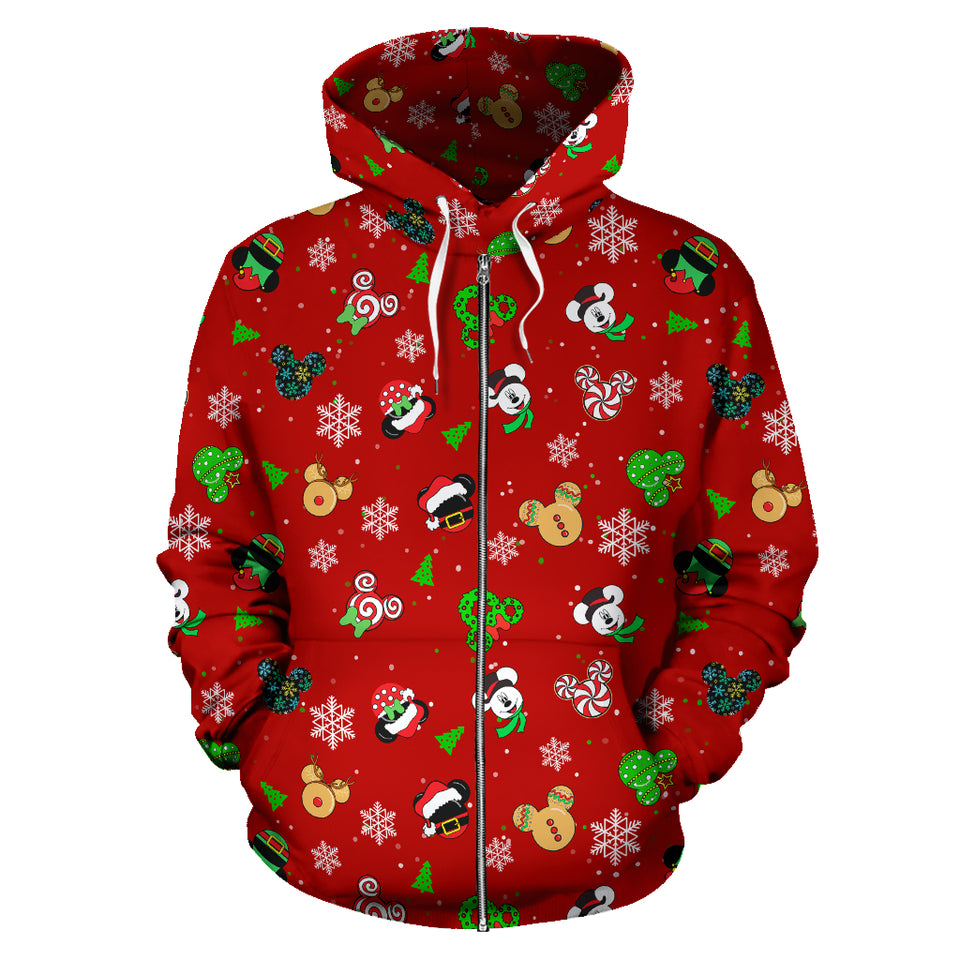 Zip Up Hoodie - Mickey Noel Red