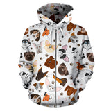 Cute Puppy Pattern Zip Up Hoodie