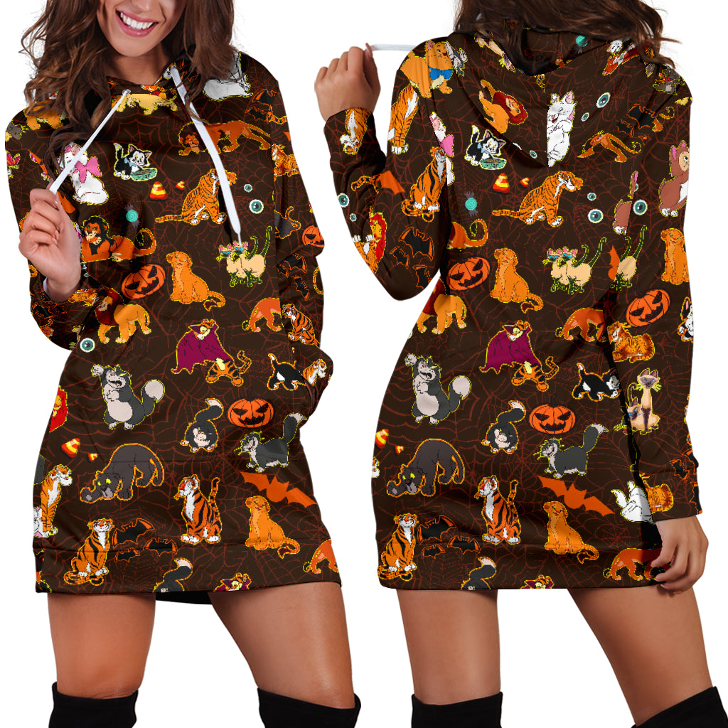 [Express Line Product+ 12$] Cats Disney Halloween Women's Hoodie Dress