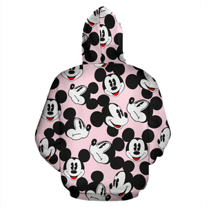 Mickey Face Pink All Over Hoodie