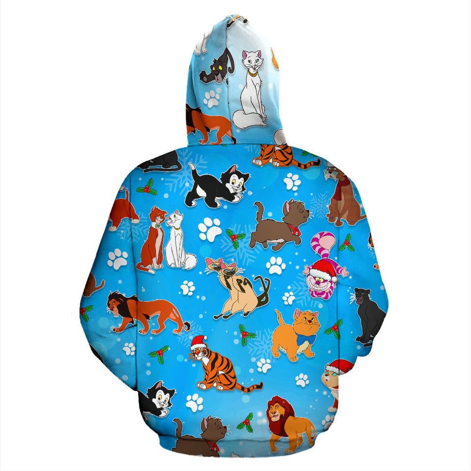 Cat DN Christmas Zip - Up Hoodie
