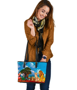 Lion King Small Leather Tote  [Express Shipping Applied]