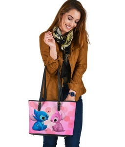 St Blue Pink Small Leather Tote