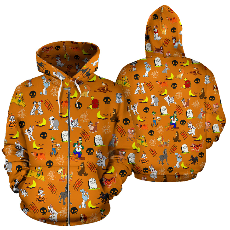 [Express Line Product+ 12$] Halloween Dogs All Over Zip Hoodie