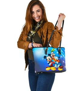 Mickey Goofy Donald Small Leather Tote  [Express Shipping Applied]