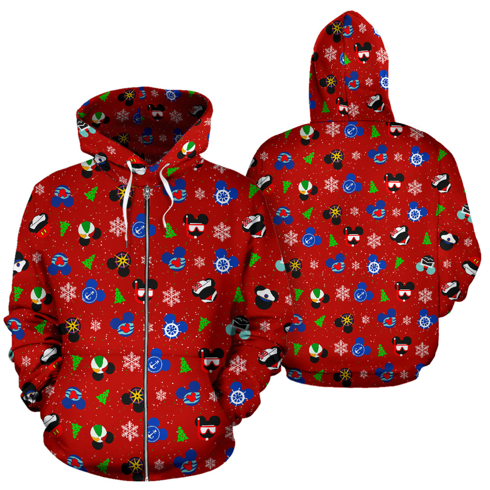 Zip Up Hoodie - Mickey Sailor Red