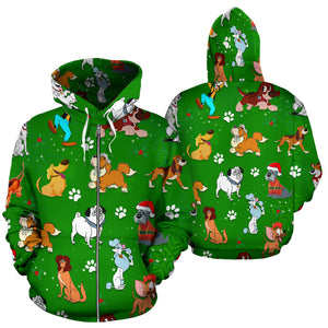 Dog DN Christmas Zip - Up Hoodie