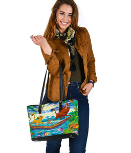 Lion Small Leather Tote