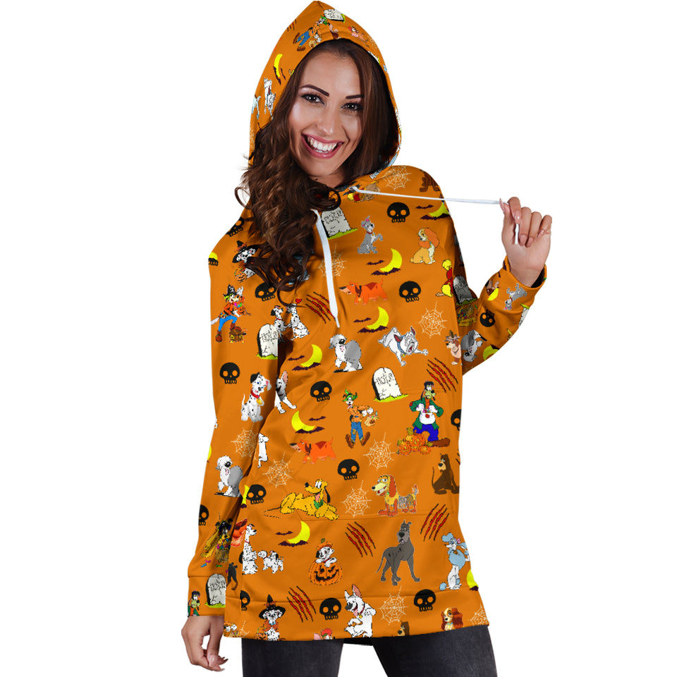 [Express Line Product+ 12$] Halloween Dog Women's Hoodie Dress