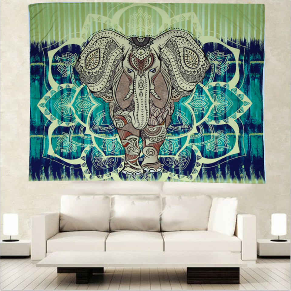 Hot Indian Bohemian Tapestry Elephant Peacock Boho Wall Hanging Carpet Bedspread Beach Picnic Blanket Pad 130x150cm/153x203cm