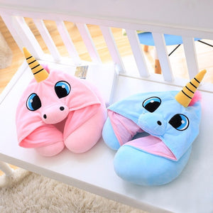U Shape Unicorn Travel Hoodie Pillow