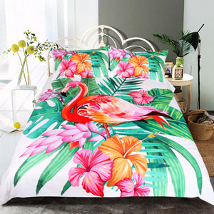 Tropical Plant Flamingo Bedding Set