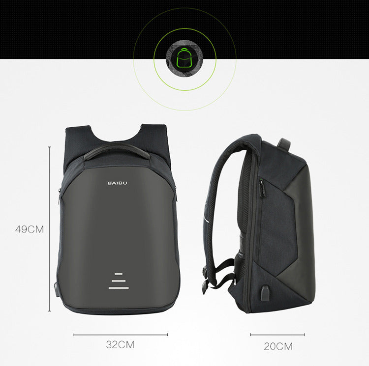 Waterproof Men USB Charge Anti-theft Backpack
