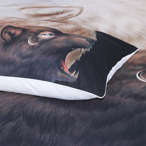 Yin and Yang Wolves Black by JoJoesArt Bedding Set