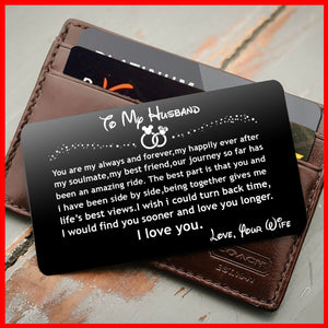 ENGRAVED BLACK WALLET INSERT CARD- TO MY HUSBAND, I LOVE YOU-V5403