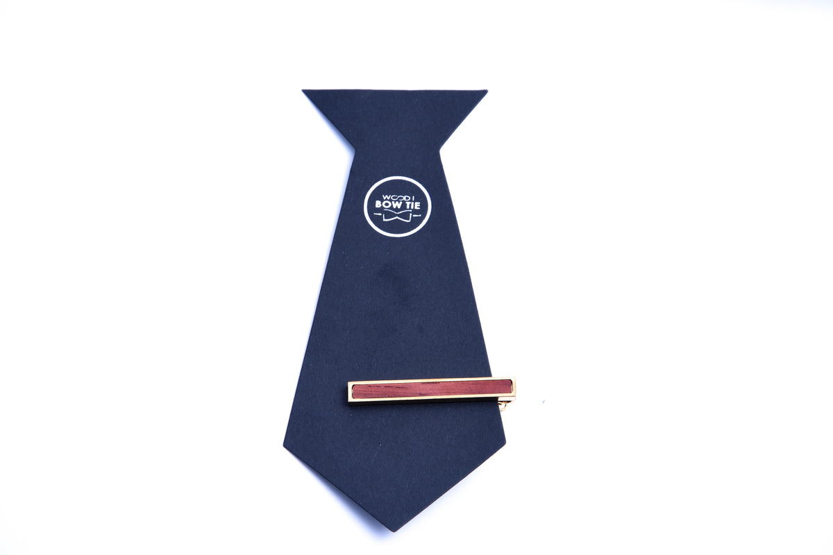 Rose wood Tie clip Gold