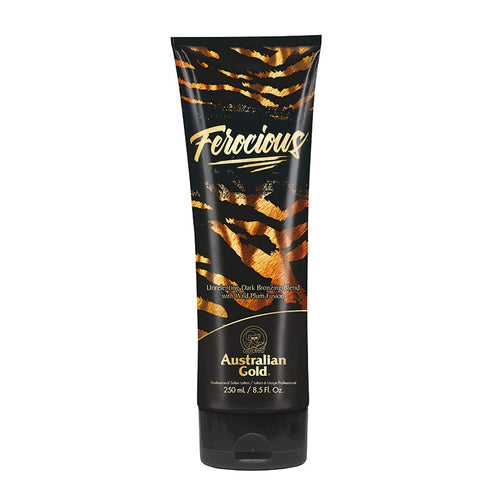 Australian Gold Ferocious DHA bronzer tanning lotion with tattoo protection