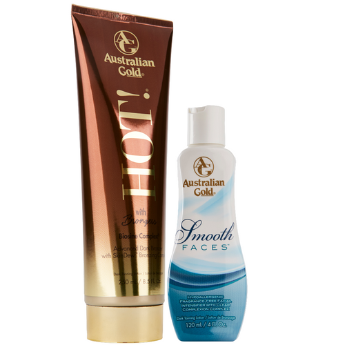 Australian Gold Hot with bronzers and smooth faces hypoallergenic facial intensifier DHA bronzer tanning lotions with aloe vera