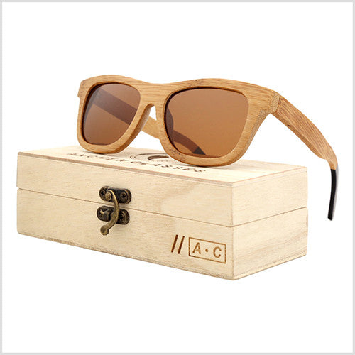 New 2017 Bamboo Sunglasses with Vintage Handmade Wooden Frame