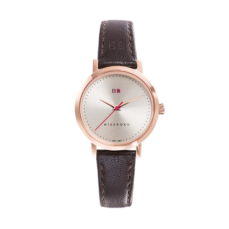 Eclipse Brown Leather 30mm Rose Gold