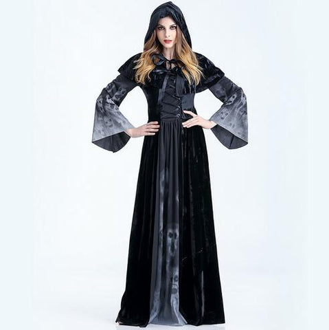 FREE 2016 medieval Renaissance adult witch Gothic queen of vampire black Fancy Dress Halloween women men Cosplay Costume Outfit