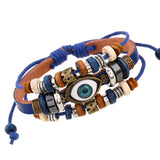 Ethnic Punk Style Angel Devil Eyes Cuff Bracelets Braclet Men Pulseira de Couro Masculina Male Leather Braclet for Best Friends