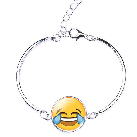 Funny Glass emoji Cabochon Cuff Bracelet Silver Wrist Bangle for Womens Jewelry