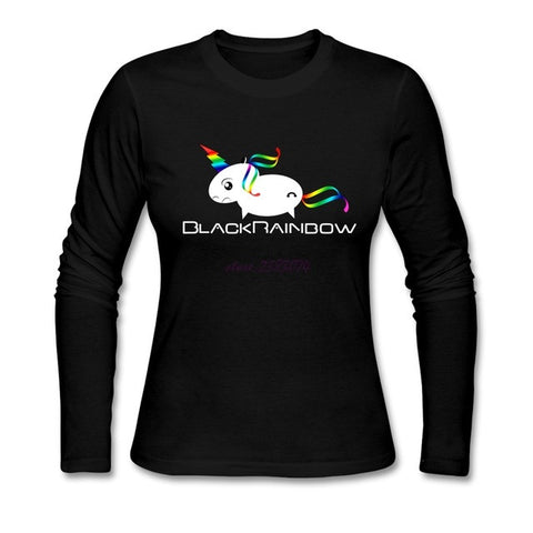 Woman Rainbow Unicorn Dynamic geek  Cotton  t shirts Tees Women Round Collar Full Sleeves tops&tees