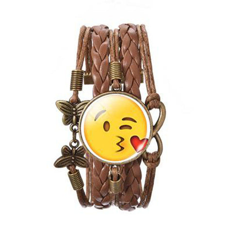 Fashion Glass Funny Emoji Glass Cabochon Cuff Bracelet Brown Time Stone Woven Leather Infinity Love Bracelet for LOVERS' Gift