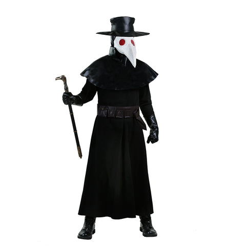The Scariest Adult Medieval Black Death Plague Doctor Costume For Men Character Of Horror Film Symbol Of Fear Halloween Dress-up