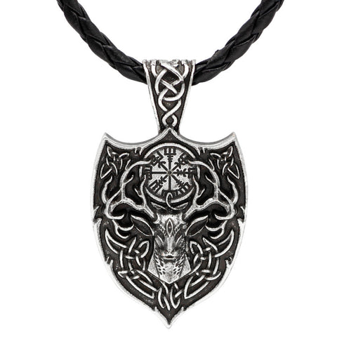 David Kabel Fashion Mens Norse Viking Animal Deer Head Large Shield Necklace Pendant Scandinavian Antique