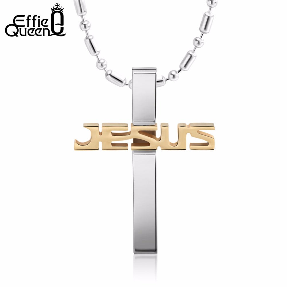 Jesus Name Stainless Steel Cross Necklace in Gold, Black or Silver