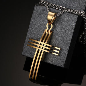 Triple Band Square Edge Curved Front Stainless Steel Cross Necklace