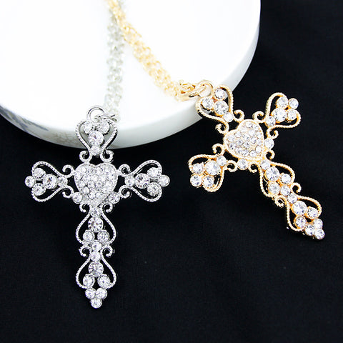 Big Heart Rhinestone Embroidered Hearts Cross Necklace