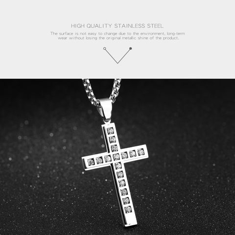 Crystal Packed Masters Cross Necklace in White Silver or Gold