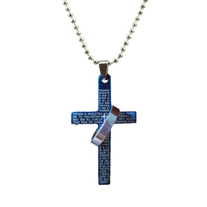 Spanish Lord's Prayer Bible Cross Necklace with Ring Band in Blue, Black or Silver