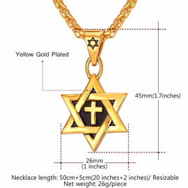Star of David Cross Necklace in Gold or Silver