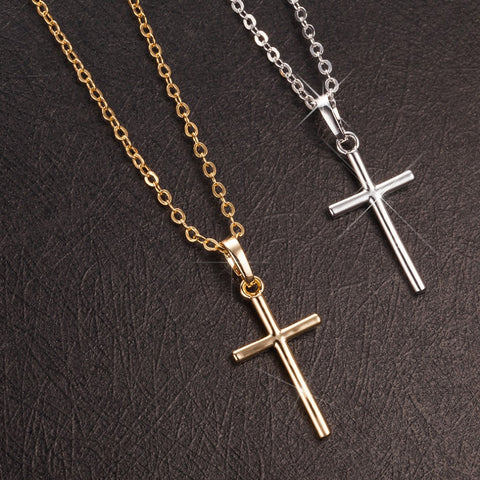 Tiny Rounded Classic Simple Lightweight Cross Necklace in Gold or Silver