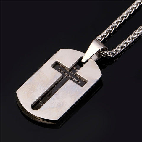 Dog Tag Style Cross Etched Front Cover Lord's Prayer Stainless Steel Cross Necklace