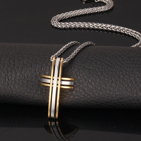 Two Tone Gold Silver Color Stainless Steel Cross Necklace