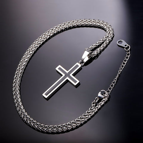 Classic Simple Two Tone Square Edge Outline Stainless Steel Cross Necklace