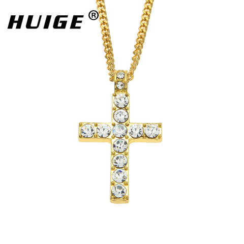 Rhinestone Crystal Studded Corner Studded Square Edge Alloy Cross Necklace in Gold or Silver