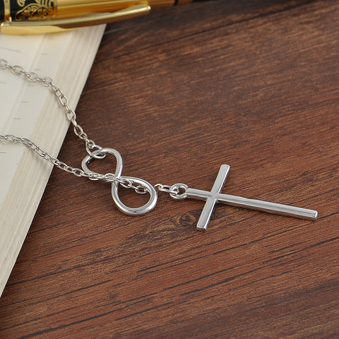 Infinity Loop Lightweight Cross Necklace for Women