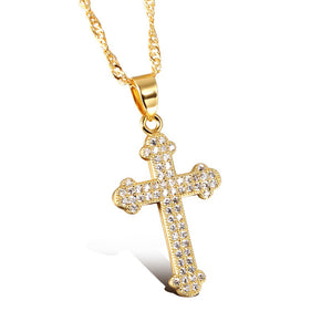 Byzantine Cubic Zirconia Inlaid Studded 18k Gold Plated Alloy Cross Necklace