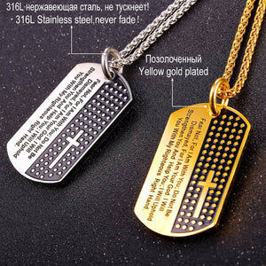 Dog Tag Style Isaiah 41 10 Prayer Cross Necklace