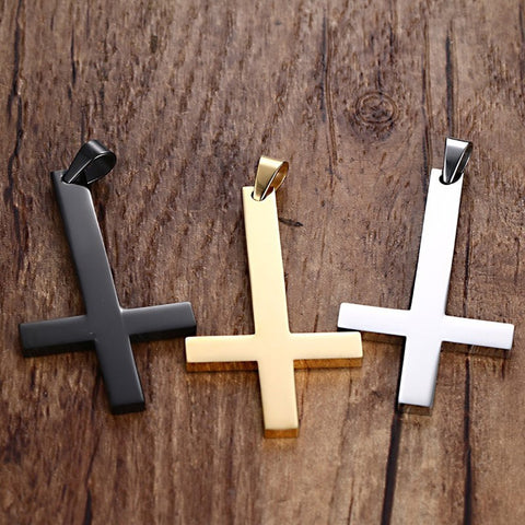 St Peter's Inverted Stainless Steel Cross Necklace in Silver, Black or Gold
