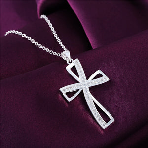 Silver Cross Pendant Necklace at factory price (Christmas gift)